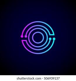 Letter O logo design template,Technology abstract dot connection vector logo