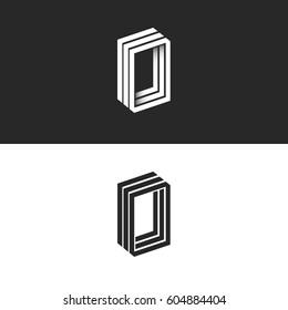 Letter O logo hipster monogram, idea OOO initials emblem mockup, isometric 3D lines geometric shape, creative, number zero