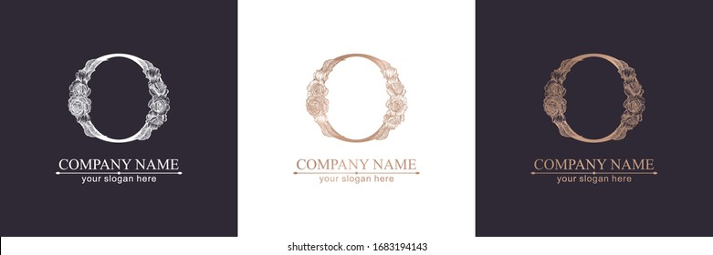 Letter O logo or monogram. For your business. Vector sign. Floral style, beautiful roses. Personal logo.