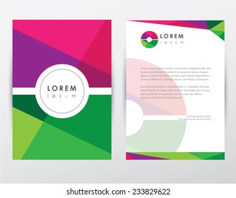 letter o logo style cover brochure and letterhead template design mockup set for business presentations- multicolored geometrical shapes pattern