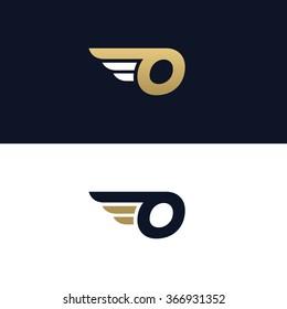 Letter O logo template. Wings design element vector illustration. Corporate branding identity