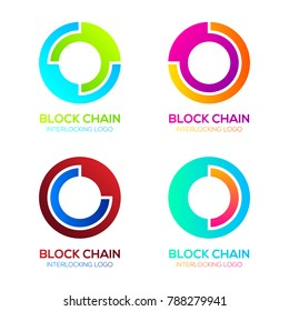 Letter O logos Colorful Circle shape with Block chain Technology and Abstract Interlocking, Bitcoin Cryptocurrency data, Digital connect link network Concept