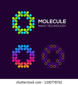 Letter O Logotype with Dots and Curve , Circle Shape and Line Connection, Molecule and Nano Technology logo, Innovation and DNA Icons, Medical Cosmetics Symbols, Science Laboratory Cell Signs