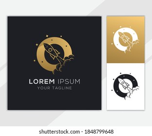 Letter O with luxury abstract rocket logo template