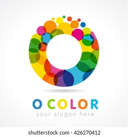 Letter O name logotype. Isolated colour emblem. Stained glass pattern graphic template. Multicolored bunch. Corporate soft branding identity. Vector mosaic texture, trendy modern fizzy bright label.