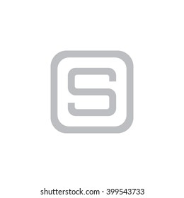 letter O and S monogram square shape logo, letter  with rounded square frame logo gray