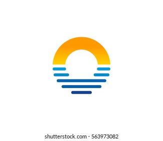 Letter O Sunset Logo Design Element