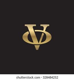 letter O and V monogram golden logo