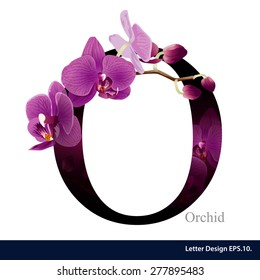 Letter O vector alphabet with orchid flower. ABC concept type as logo. Typography design