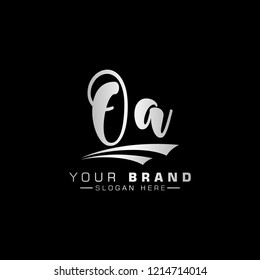 Letter OA Logo. Initial Letter Design Vector Luxury metalic Colors