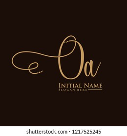 Letter OA Logo. Initial Letter Design Vector Luxury Colors