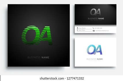 Letter OA logotype with colorful circle, with striped composition letter, sets of business card for company identity, creative industry, web.