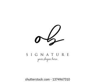 Letter OB Signature Logo Template - Vector