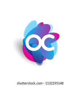 Letter OC logo with colorful splash background, letter combination logo design for creative industry, web, business and company.