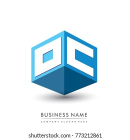 Letter OC logo in hexagon shape and blue background, cube logo with letter design for company identity.