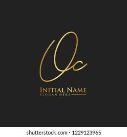 Letter Oc Logo. Initial Letter Design Vector Luxury Colors