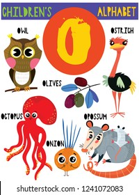 Letter O.Cute children's alphabet with adorable animals and other things.Poster for kids learning English vocabulary.Cartoon vector illustration.