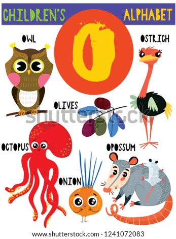 Letter O Cute Childrens Alphabet Adorable Animals Stock Vector