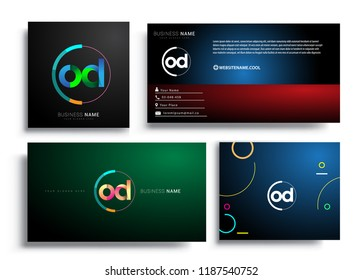 Letter OD logotype with colorful circle, letter combination logo design with ring, sets of business card for company identity, creative industry, web, isolated on white background.