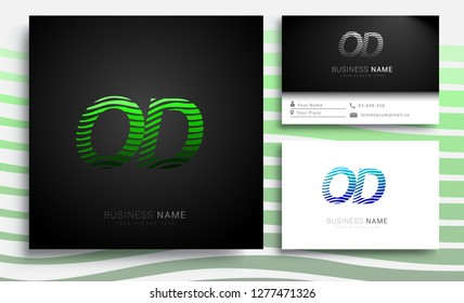 Letter OD logotype with colorful circle, with striped composition letter, sets of business card for company identity, creative industry, web.