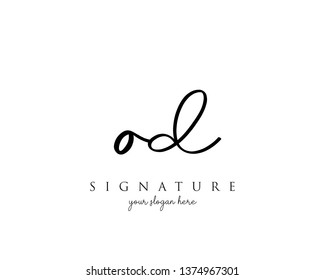 Letter OD Signature Logo Template - Vector