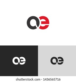 Letter oe linked lowercase logo design template elements. Red letter Isolated on black white grey background. Suitable for business, consulting group company.