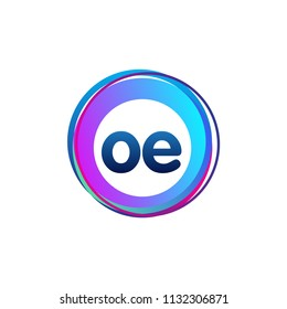 Letter OE logo with colorful circle, letter combination logo design with ring, circle object for creative industry, web, business and company.