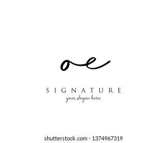 Letter OE Signature Logo Template - Vector