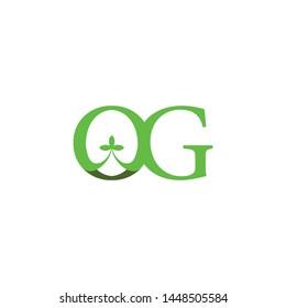 Letter OG with leaf logo design vector