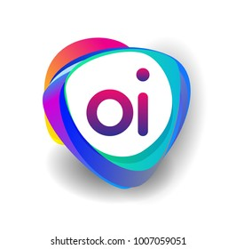 Letter OI logo with colorful splash background, letter combination logo design for creative industry, web, business and company.