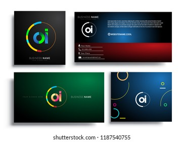 Letter OI logotype with colorful circle, letter combination logo design with ring, sets of business card for company identity, creative industry, web, isolated on white background.