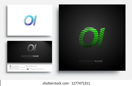 Letter OI logotype with colorful circle, with striped composition letter, sets of business card for company identity, creative industry, web.