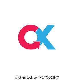 letter ok circle geometric arrow logo vector