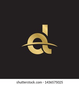 Letter ol linked lowercase logo design template elements. Gold letter Isolated on black  background. Suitable for business, consulting group company.