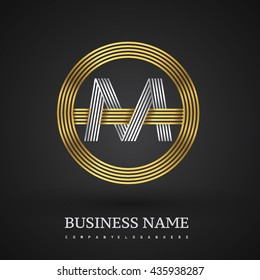 Letter OM or MO linked logo design circle O shape. Elegant gold and silver colored, symbol for your business name or company identity.