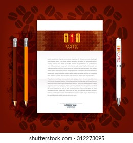 letter on Corporate identity Menu Restaurant Background coffee beans