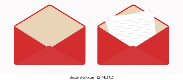 Letter in open red envelope, clean sheets of paper. The empty envelope.  Notepad lined pages. Flat icon. Vector illustration. Isolated on white background. Horizontal orientation.
