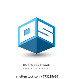 Letter OS logo in hexagon shape and blue background, cube logo with letter design for company identity.