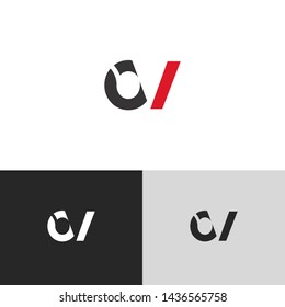 Letter ov linked lowercase logo design template elements. Red letter Isolated on black white grey background. Suitable for business, consulting group company.