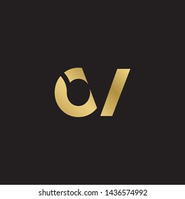 Letter ov linked lowercase logo design template elements. Gold letter Isolated on black  background. Suitable for business, consulting group company.