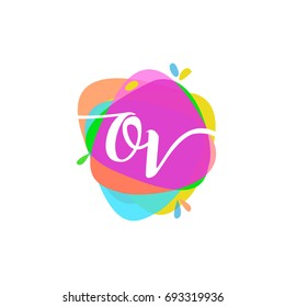 Letter OV logo with colorful splash background, letter combination logo design for creative industry, web, business and company.
