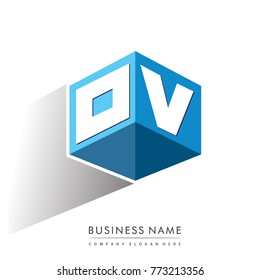 Letter OV logo in hexagon shape and blue background, cube logo with letter design for company identity.