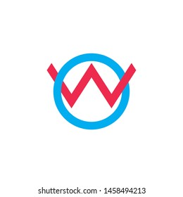 letter ow linked overlapping line logo vector