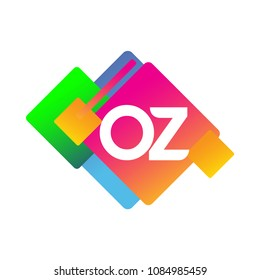 Letter OZ logo with colorful geometric shape, letter combination logo design for creative industry, web, business and company.
