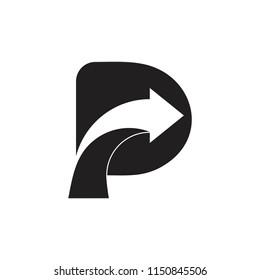 letter p arrow street design logo vector