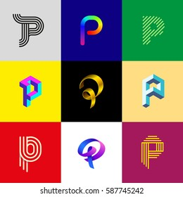 "Letter ""P"" big logo pack. Isometric, minimal, line, colorful, ribbon, geometric, luxury vector monograms. Eps10 format."