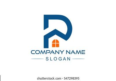 letter p building architecture logo flat