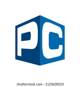 letter P and C vector logo.