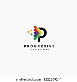 Letter P with colorful arrow logo vector, digital arrow logo template