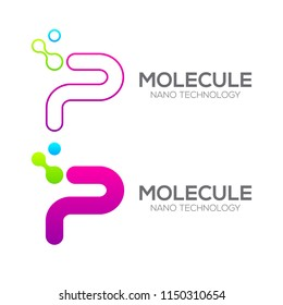 Letter P with Dot and Curve ,Circles shape connected, Molecule and Nano Technology logotype, innovation tech, Medicine, Science, Laboratory, Cosmetics